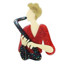 Load image into Gallery viewer, Lea Stein Signed Saxophonist Sax Lady Brooch Pin - Multi Glitter