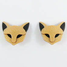 Load image into Gallery viewer, Lea Stein Quarrelsome Cat Earrings - Beige Glitter & Black