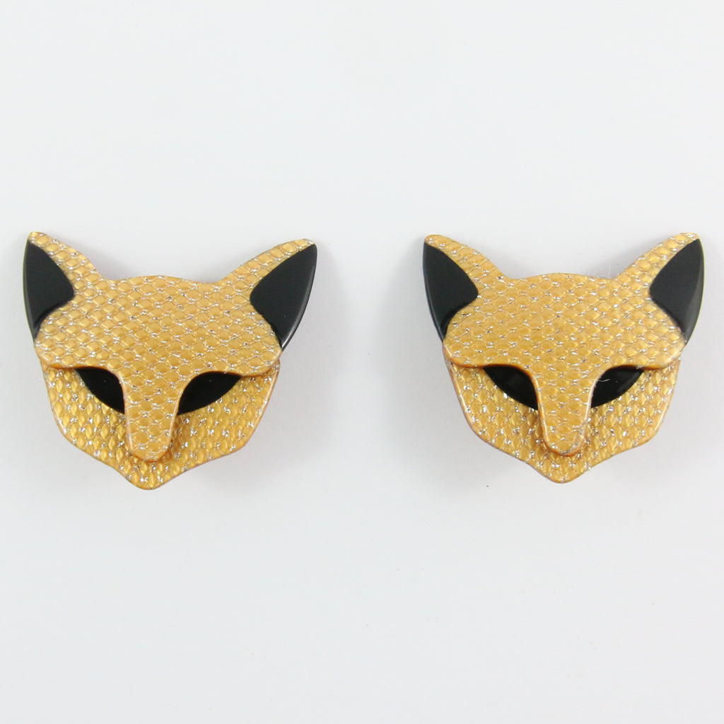 Lea Stein Quarrelsome Cat Earrings - Beige Glitter & Black