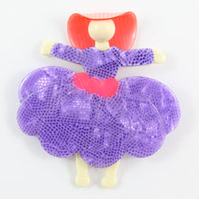 Load image into Gallery viewer, Lea Stein Ballerina Scarlett O' Hara Brooch - Violet & Pink