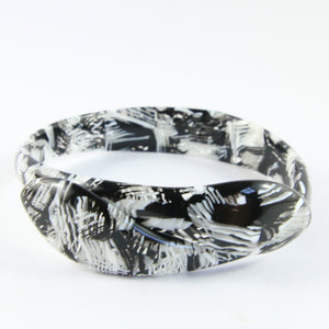 Signed Lea Stein Snake Bangle - Black, White, Grey Texture