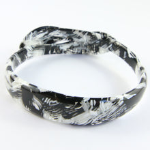 Load image into Gallery viewer, Signed Lea Stein Snake Bangle - Black, White, Grey Texture
