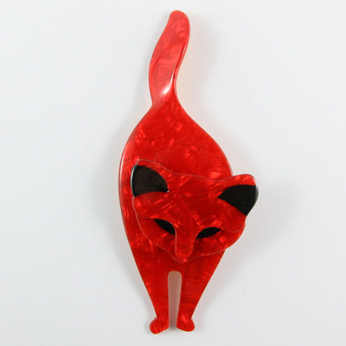 Lea Stein Bacchus Standing Cat Brooch Pin - Red Swirly & Black