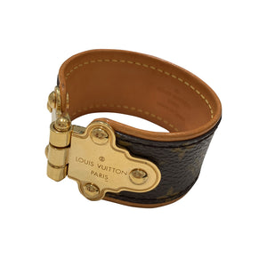 Pre-Owned Louis Vuitton Leather Brown & Gold Tone Cuff
