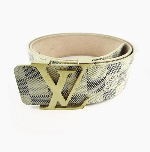 Pre Owned Louis Vuitton Damier Logo Belt Signature White