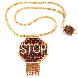 David Mandel for The Show Must Go On Signed Crystal STOP Sign Necklace