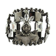 Load image into Gallery viewer, David Mandel for The Show Must Go On | Clear crystal & chrome statement cuff