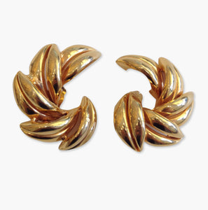 Signed 'David Mandel' Goldtone Earrings