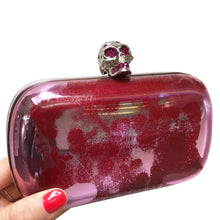 Load image into Gallery viewer, Alexander McQueen Fuchsia Pink Hard Case Crystal Encrusted Skull Box Clutch c. 2010