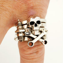 Load image into Gallery viewer, William Griffiths Sterling Silver 3D Diamond Stack Ring