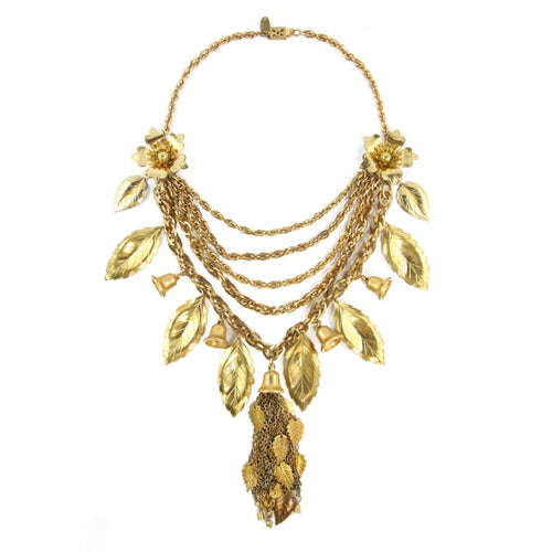 Miriam Haskell Signed Vintage Brass Multi Chain Bib Fringe Necklace with Textured Leaves c.1970