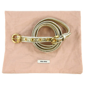 Miu Miu Pre-Owned Gold Leather Glitter Double Wrap Belt