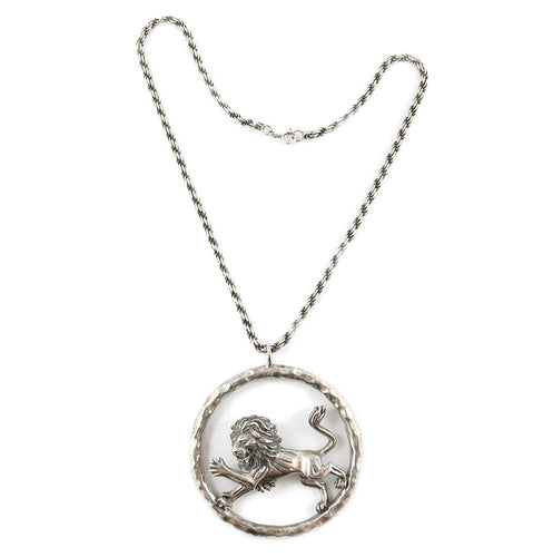 Vintage Sterling Silver Lion Image Necklace