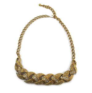 Vintage Plated Effect Matte Finnish Gold and Crystal Necklace