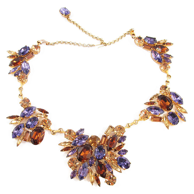 Harlequin Market Deep Brown, Light Topaz and Purple Crystal Necklace