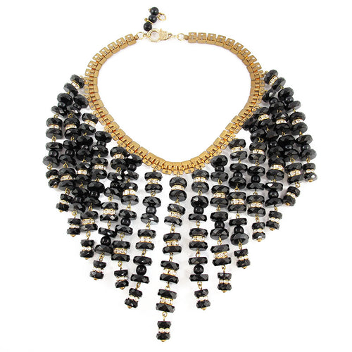 Vintage unsigned black glass beaded multi strand collar necklace c. 1970