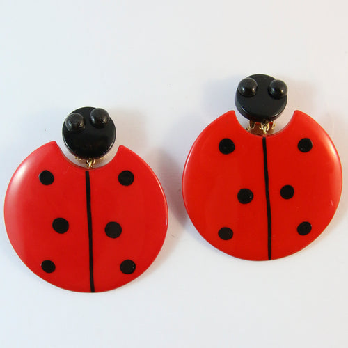 Pavone Signed Red Ladybug Earrings (Clip-On)