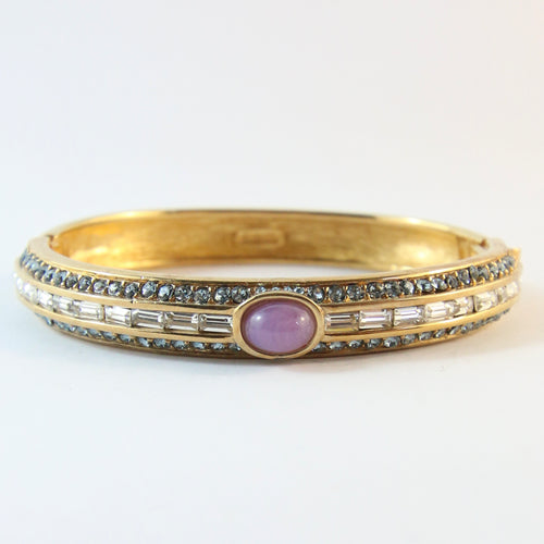 Ciner NY Clear & Blue Crystal, Purple Cabochon Gold Plated Clamper Bangle