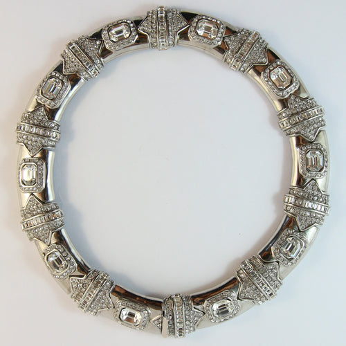 Ciner NY Silver Choker Necklace with Clear Crystals