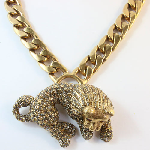Ciner NY Gold Plated Lion Body Pendant Necklace