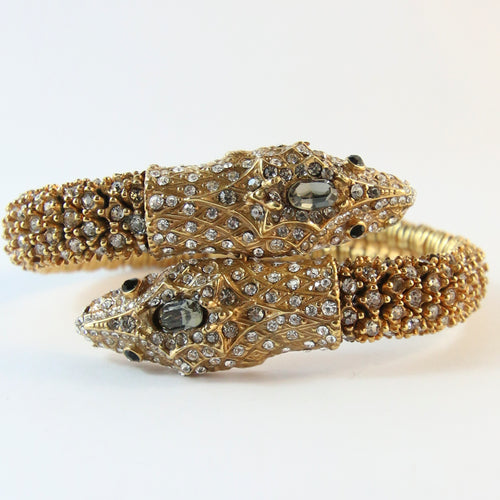 Ciner NY Double Snake Head Crystal Encrusted Bangle