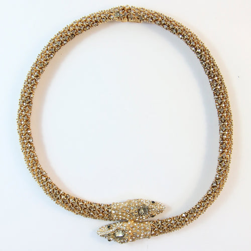 Ciner NY Double Snake Head Crystal Encrusted Necklace