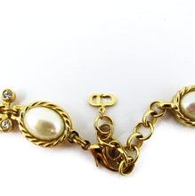Load image into Gallery viewer, Vintage Signed 'Christian Dior' 1980's Pearl Cabochons & Rhinestone Necklace