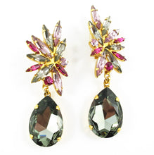 Load image into Gallery viewer, Harlequin Market Statement Austrian Crystal Earrings - Black Diamond and Light Rose