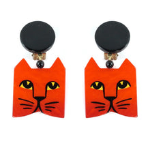 Load image into Gallery viewer, Pavone Signed Orange Square Cat Face Earrings - Orange (Clip-on)