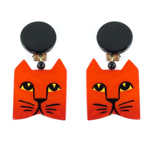 Pavone Signed Orange Square Cat Face Earrings - Orange (Clip-on)