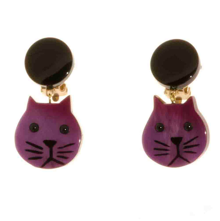 Pavone Signed Small Cat Earrings - Purple