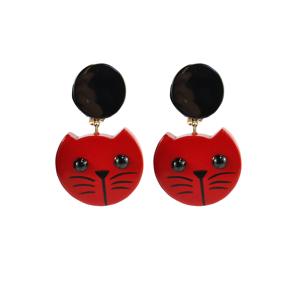 Pavone Signed Cherry Red Cat Face Earrings (Clip-On)