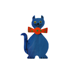Pavone Signed Blue Cat with Orange Bow Tie Brooch Pin
