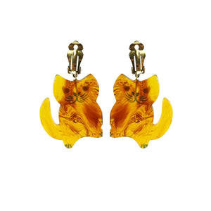 Pavone Signed Transparent Tortoiseshell Large Sitting Cat Earrings (Clip-On)