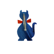 Load image into Gallery viewer, Pavone Signed Blue Cat with Orange Bow Tie Brooch Pin