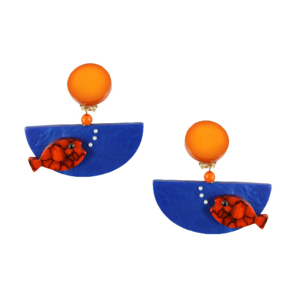 Pavone Signed Orange Fish Blue Bowl Earrings (Clip-On)