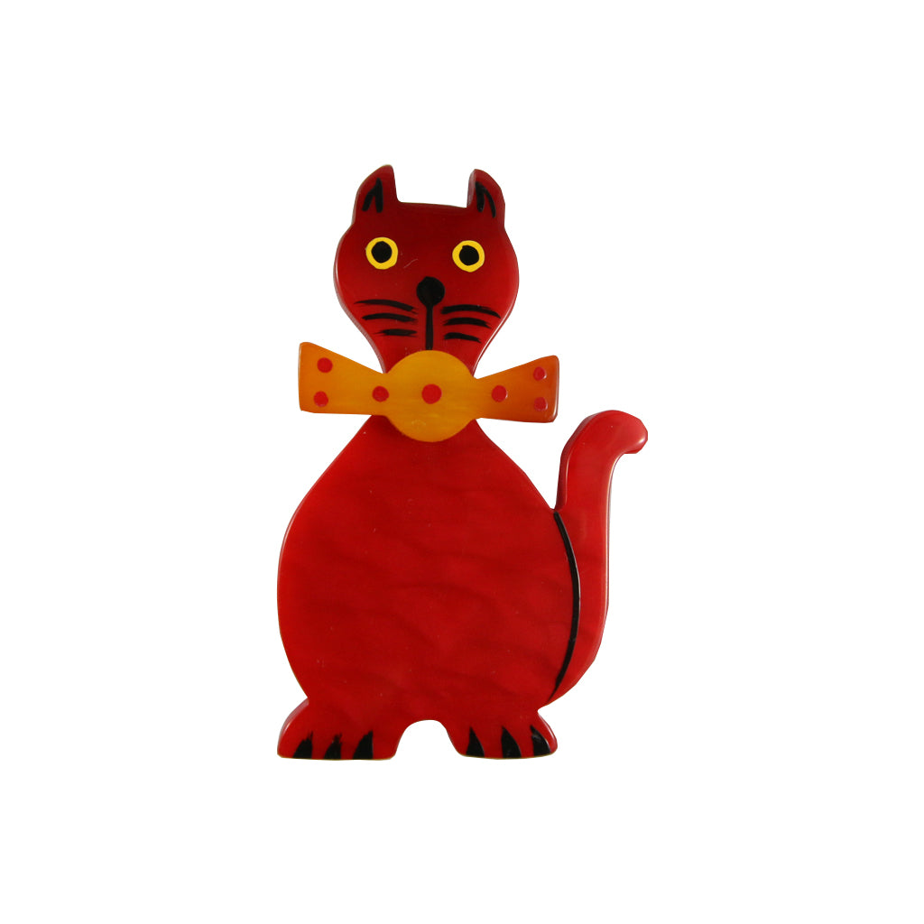 Pavone Signed Red Cat with Orange Bow Tie Brooch Pin