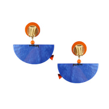 Load image into Gallery viewer, Pavone Signed Orange Fish Blue Bowl Earrings (Clip-On)