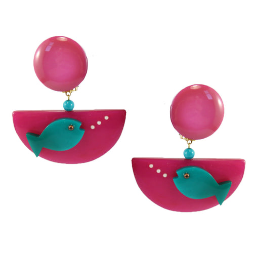 Pavone Signed Blue Fish Pink Bowl Earrings (Clip-On)