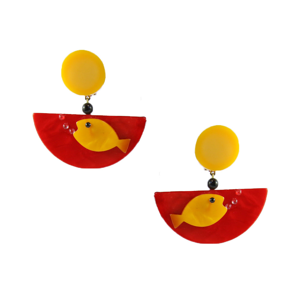 Pavone Signed Yellow Fish Red Bowl Earrings (Clip-On)