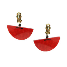 Load image into Gallery viewer, Pavone Signed Yellow Fish Red Bowl Earrings (Clip-On)