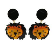 Load image into Gallery viewer, Pavone Signed Lion With Black Mane Earrings (Clip-On)