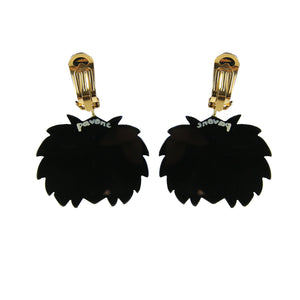 Pavone Signed Lion With Black Mane Earrings (Clip-On)