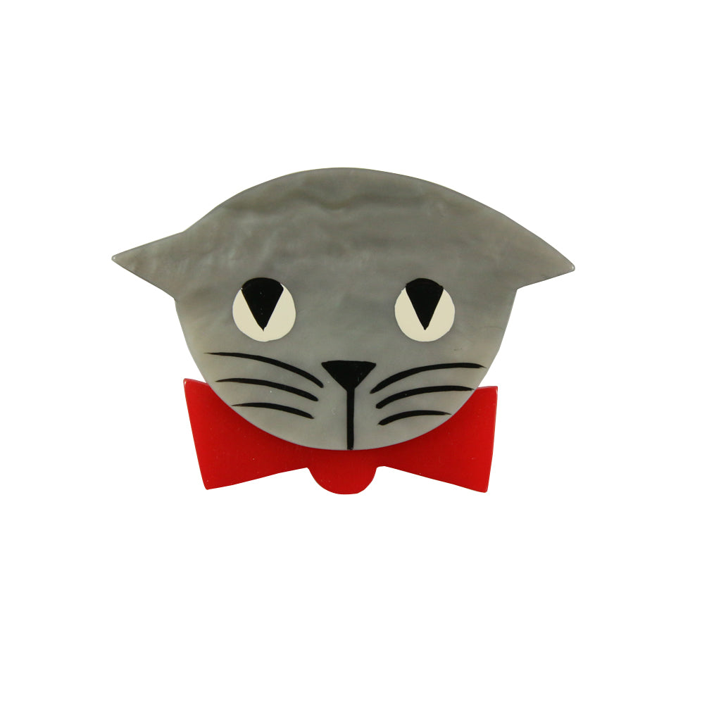 Pavone Signed Grey Cat with Red Bow Tie Brooch Pin