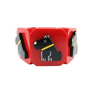 Pavone Signed Bright Red Black Scottie Dog Yellow Collar Stretch Bracelet