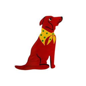 Pavone Signed Red Dog with Yellow Bandana Brooch Pin