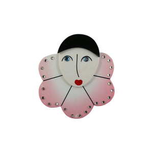 Pavone Signed Harlequin Pink Face Large Brooch Pin