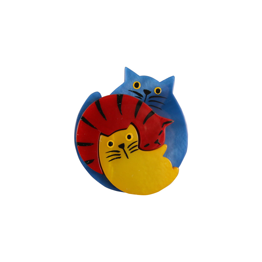 Pavone Signed Blue , Yellow & Red Cuddling Cat Brooch Pin