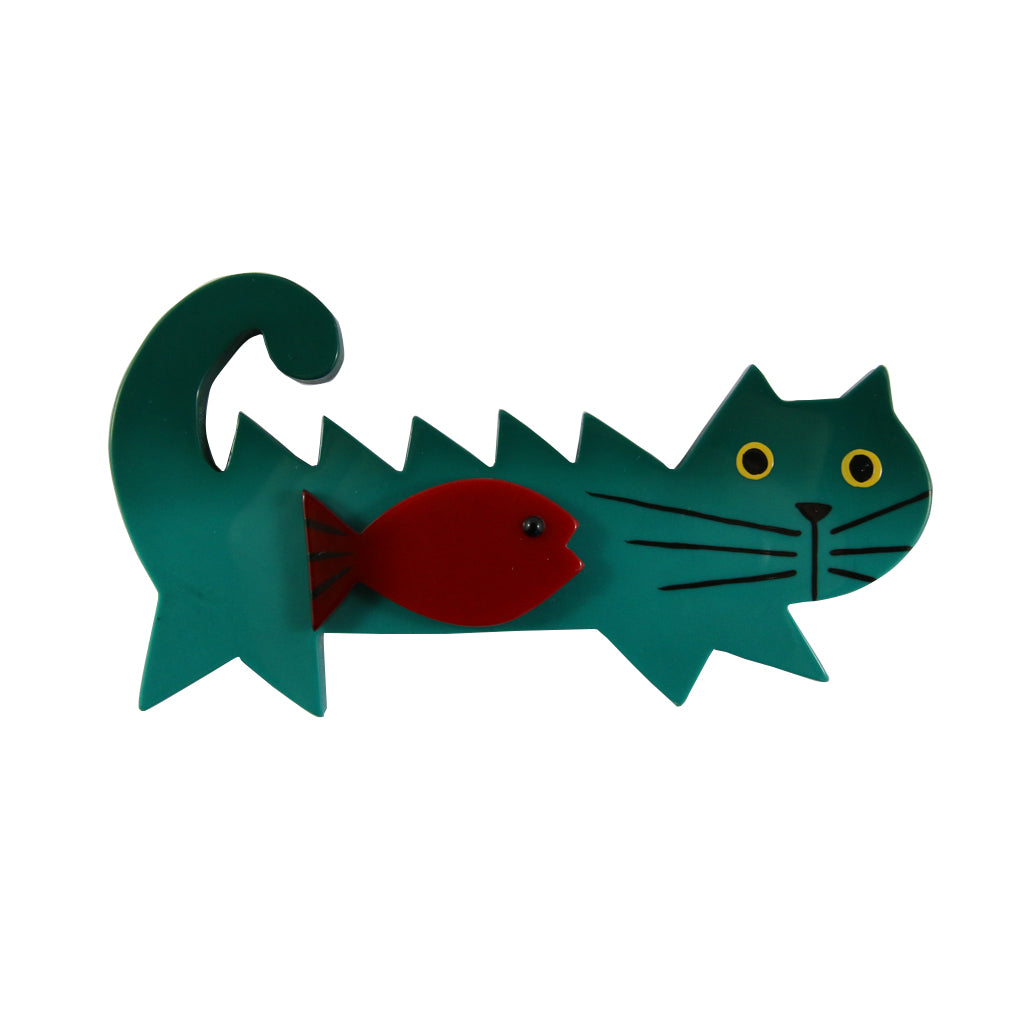 Pavone Signed Large Green Cat With Red Fish Brooch Pin