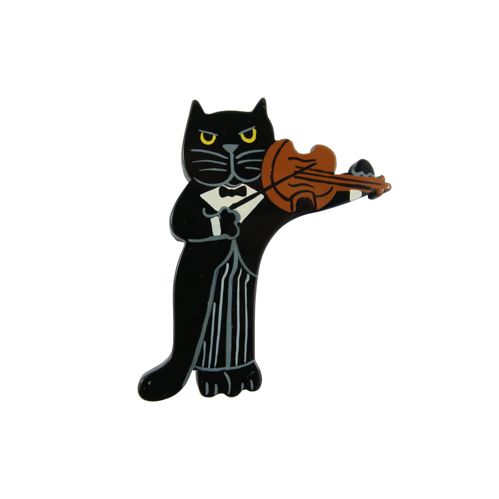 Pavone Signed Black Cat Violinist Brooch Pin